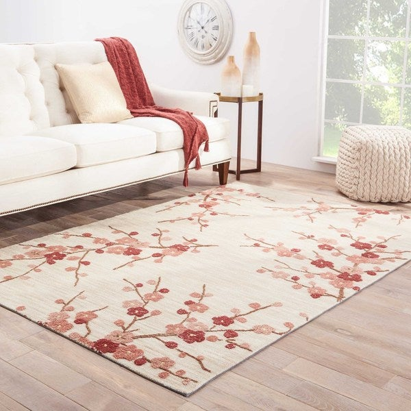 Cerise Handmade Floral White/ Pink Area Rug (5' X 7'6)