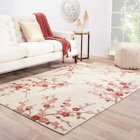 "Cerise Handmade Floral White/ Pink Area Rug - 5' X 7'6"""