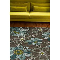 Hand-tufted Grey/ Green Rug (5' x 7'6)