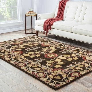 """Traditional Hand-Tufted Brown Wool Rug (3'6"""" x 5'6"""")"""
