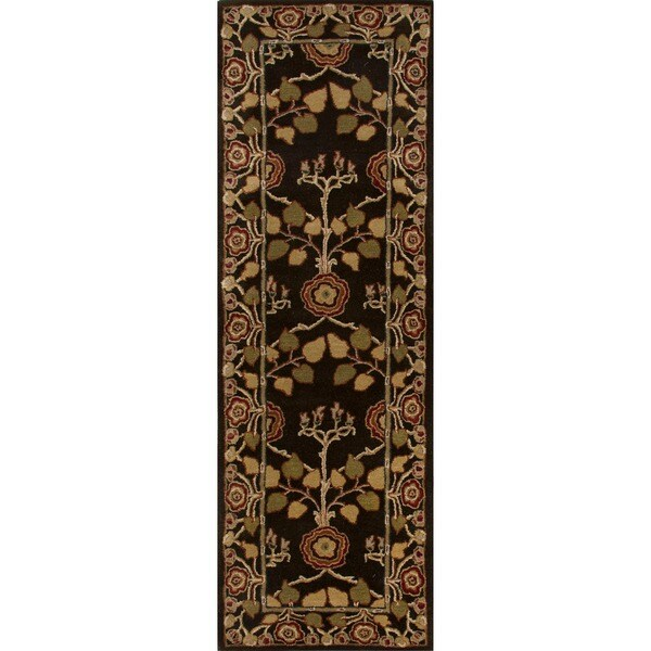"Hand-Tufted Traditional Brown Wool RunnerRug (2'6"" x 8')"