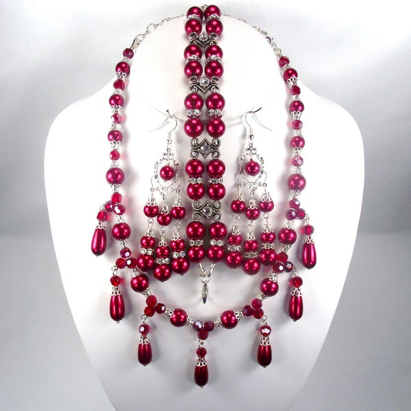 Deep Red Glass Pearl and Dark Red Crystal Jewelry Set