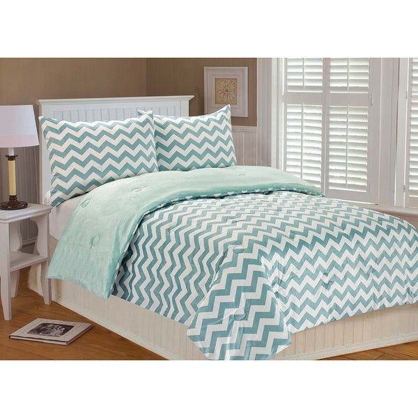 Chevron Microplush 3-piece Comforter Set