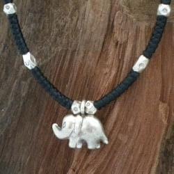 Handmade Karen Hill Silver Elephant Necklace (Thailand)