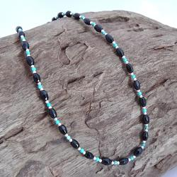 Handmade Karen Tribe Onyx/ Turquoise Necklace (Thailand)
