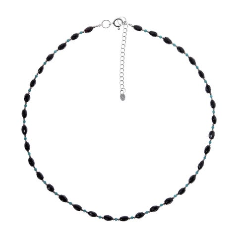 Handmade Faceted Onyx and Turquoise Silver Necklace (Thailand)