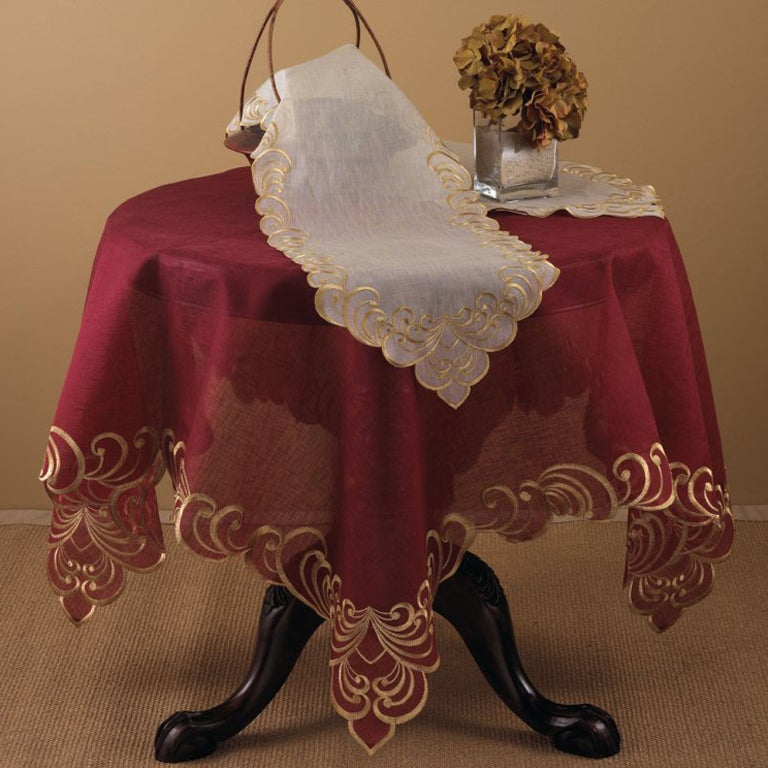Table Linens with Gold-embroidered Borders