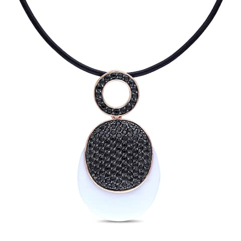 Miadora Pink Gold Plated Silver 1/6Ct TGW Agate and Black CZ Pendant