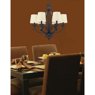 Charleston Matte Black and Burlap 6-light Chandelier