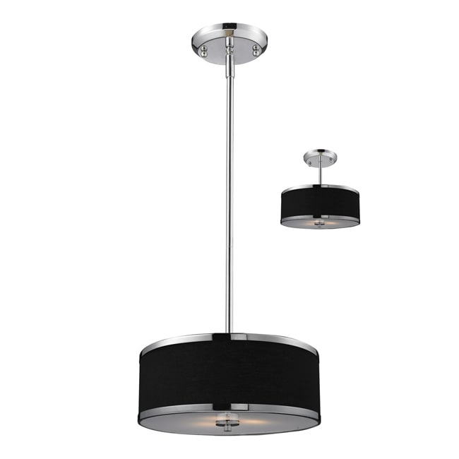 Cameo Black/ Chrome 2-light Pendant