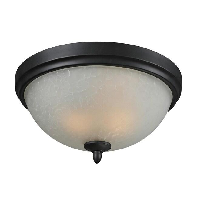 Arshe 3-light Bronze/ Watermark Glass Flush Mount