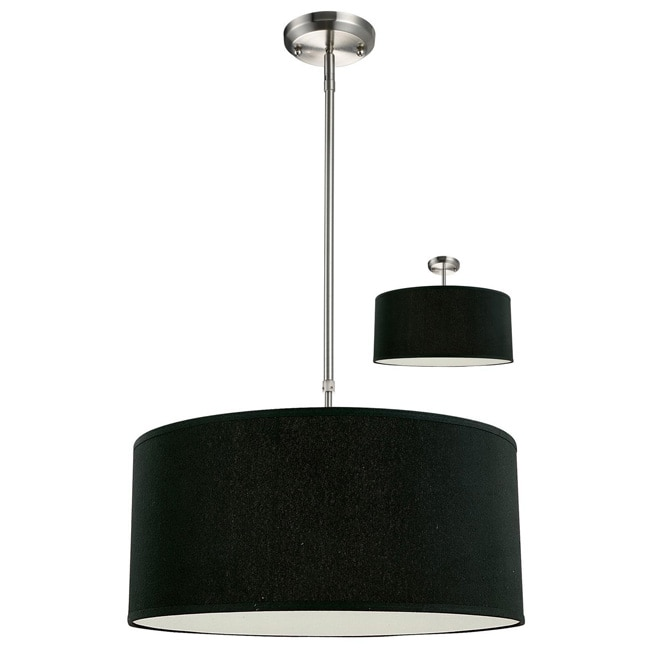 Albion Three-Light Nickel Pendant with Black Fabric Shade