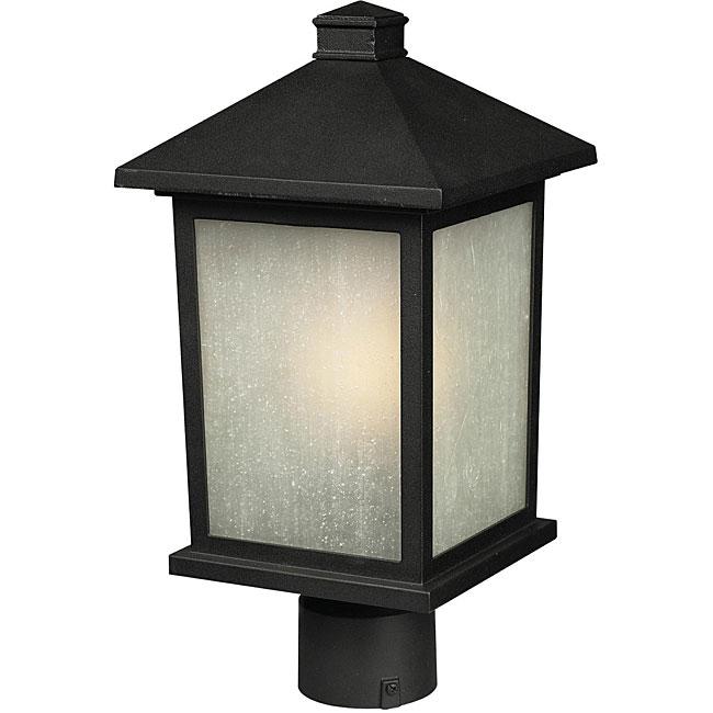 Holbrook White Seed Glass Black Lantern Outdoor Light Fixture