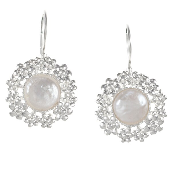 Flower Pearl Silver Earrings (Israel)