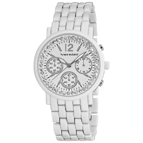 Vernier Woman's White Faux Chrono Sparkle Watch