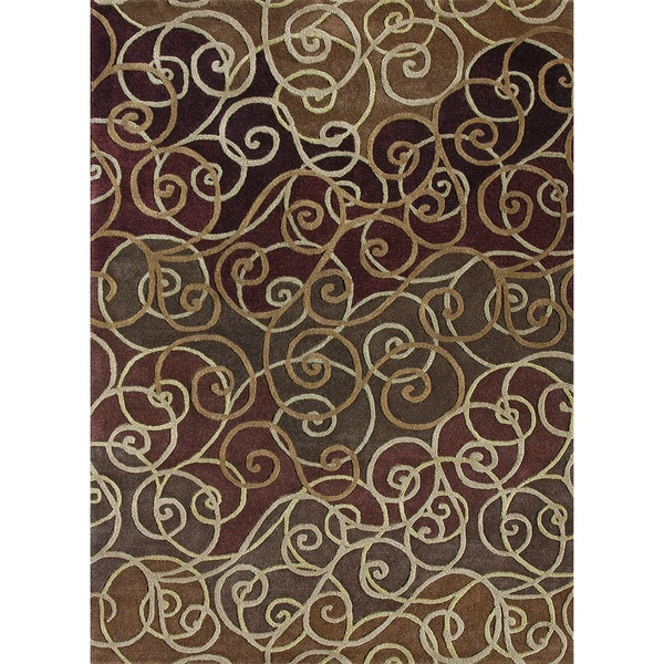Hand-Tufted Walcott Burgundy Wool Rug (5'0 x 7'6)