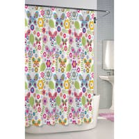 Butterfly Printed Cotton Shower Curtain