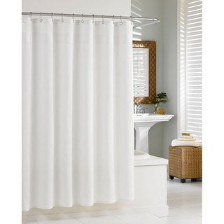 Waffle White Cotton Shower Curtain