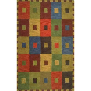 Hand-tufted Concentric Square Multi Wool Rug (2'2 x 8')