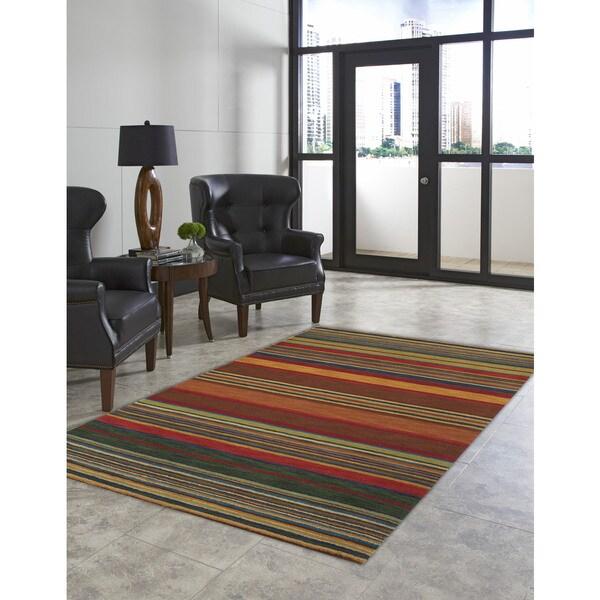 Hand-tufted Stripes Multi Wool Rug (2'2 x 8')