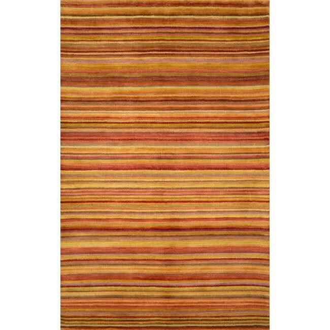 Hand-tufted Stripe Sunset Wool Rug (5' x 8')