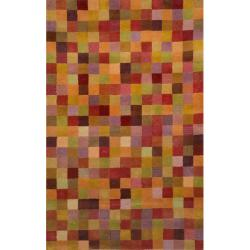 Hand-tufted Mini Squares Sunset Wool Rug (5' x 8')