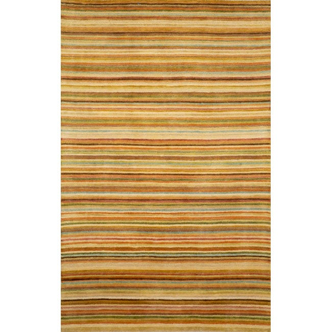 Hand-tufted Stripes Gold Wool Rug (8' x 10')
