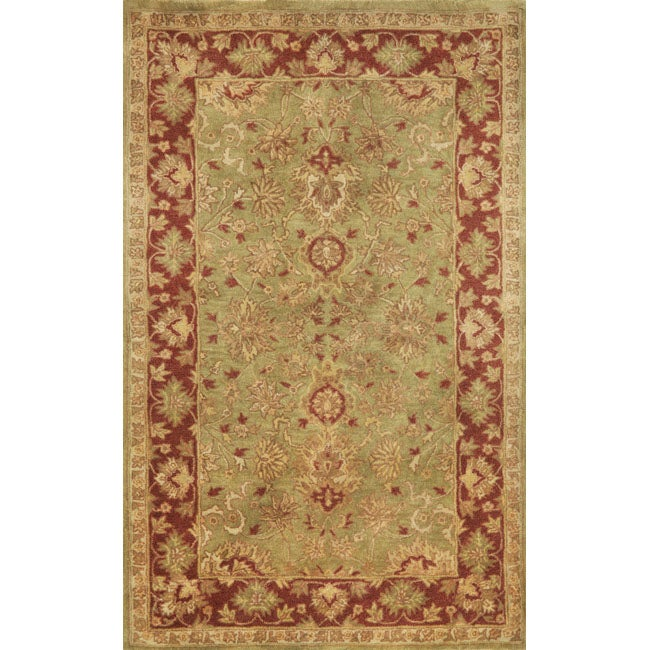 Hand-Tufted Issa Green Wool Area Rug (8' x 10')