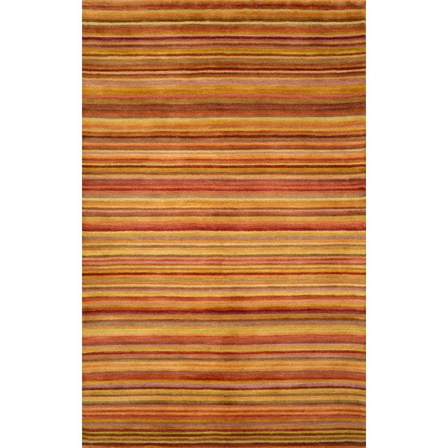 Hand-tufted Stripes Red Wool Rug (2'3 x 8')