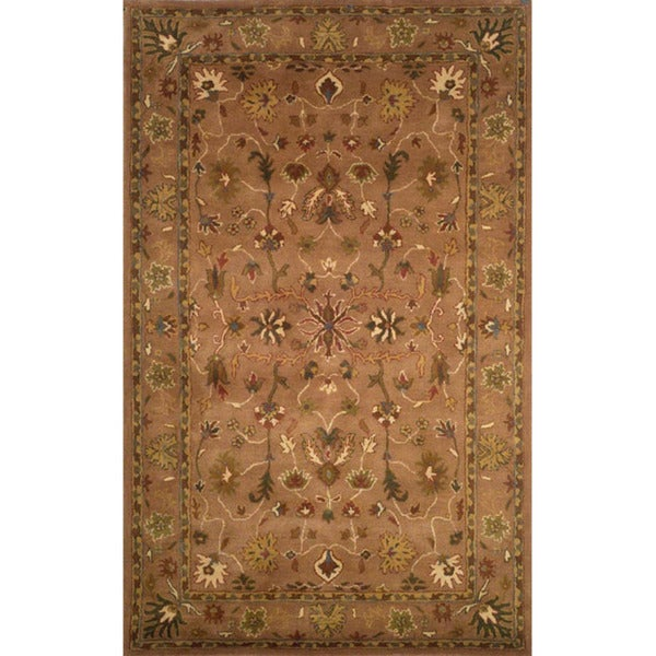Hand-tufted Anatolia Brown Wool Rug (2'3 x 8')