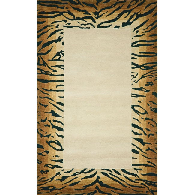 Handmade Tiger Beige Wool Rug (3'6 x 6'6)
