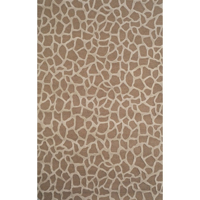 Handmade Stones Taupe Wool Rug (3'6 x 6'6)