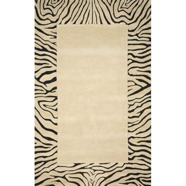 Handmade Skin Beige Wool Rug - 5' x 8'