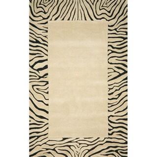 Handmade Skin Beige Wool Rug (5' x 8')