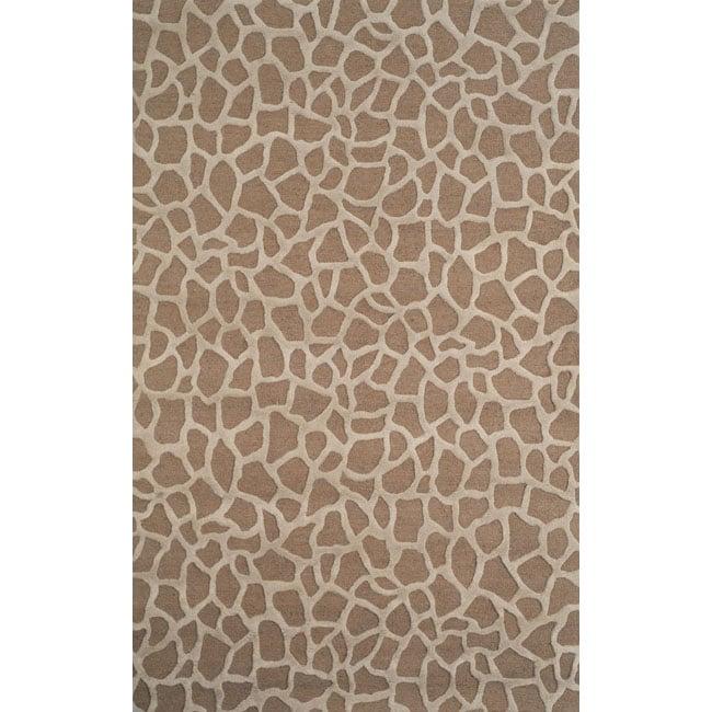 Handmade Stones Taupe Wool Rug (5' x 8')