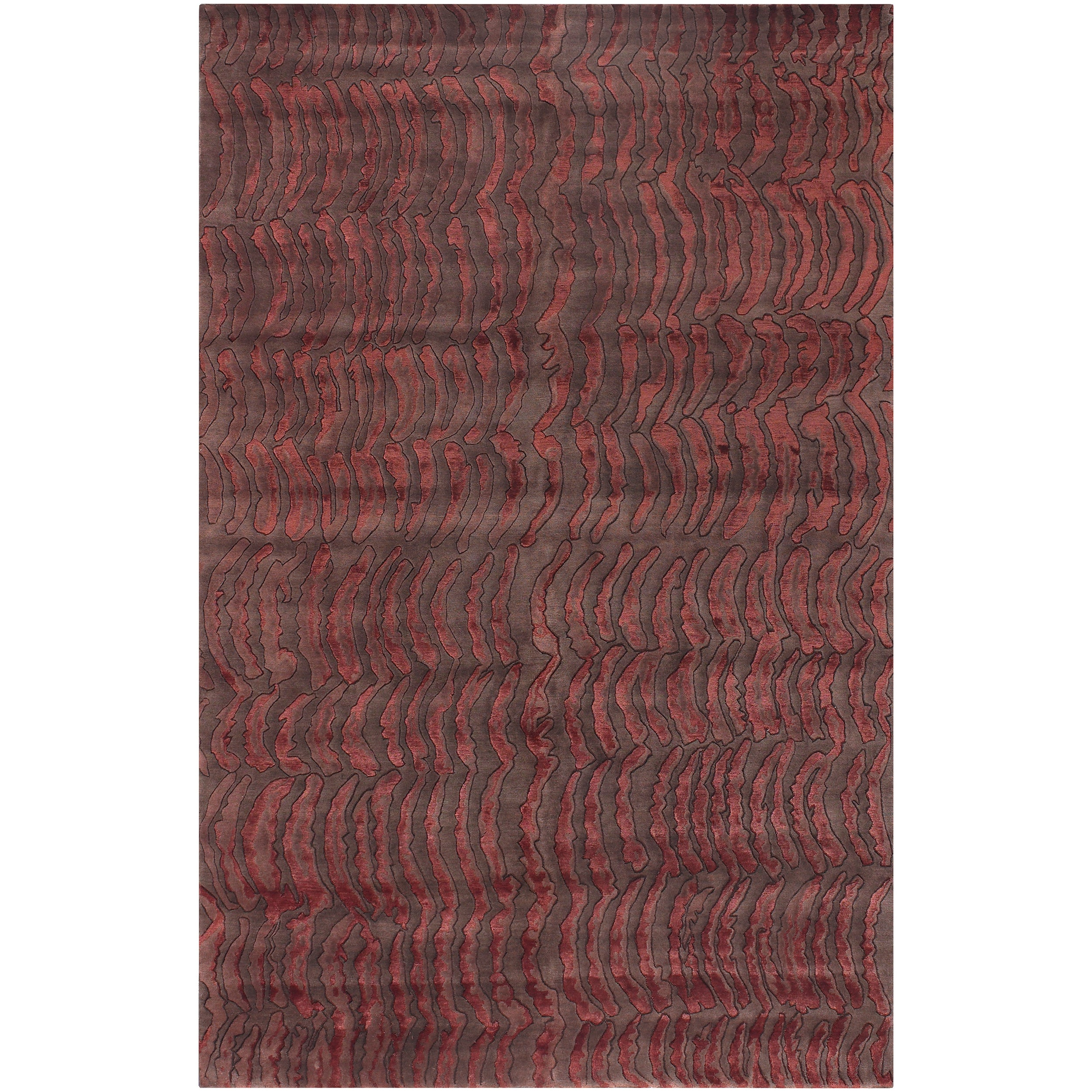 Hand-knotted Vilas Red Abstract Design Wool Rug (9' x 13')