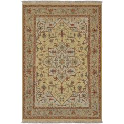 Hand-knotted Bristol Olive Wool Area Rug (4' x 6') - Thumbnail 0