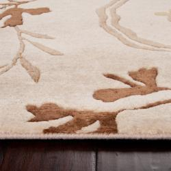 Hand-knotted Haines Beige Wool Rug (8' x 11') - Thumbnail 1