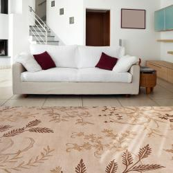 Hand-knotted Haines Beige Wool Rug (8' x 11') - Thumbnail 2