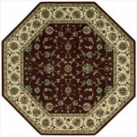 Nourison Persian Arts Traditional Burgundy Area Rug - 5'3 x 5'3