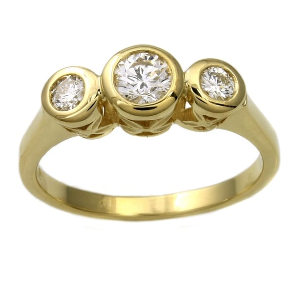 14k Yellow Gold 1/2ct TDW Diamond Bezel Ring - White