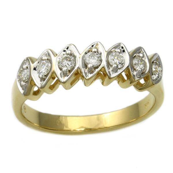 Beverly Hills Charm  14k Yellow Gold 1/4 ct. TDW Marquise Shape Diamond Ring