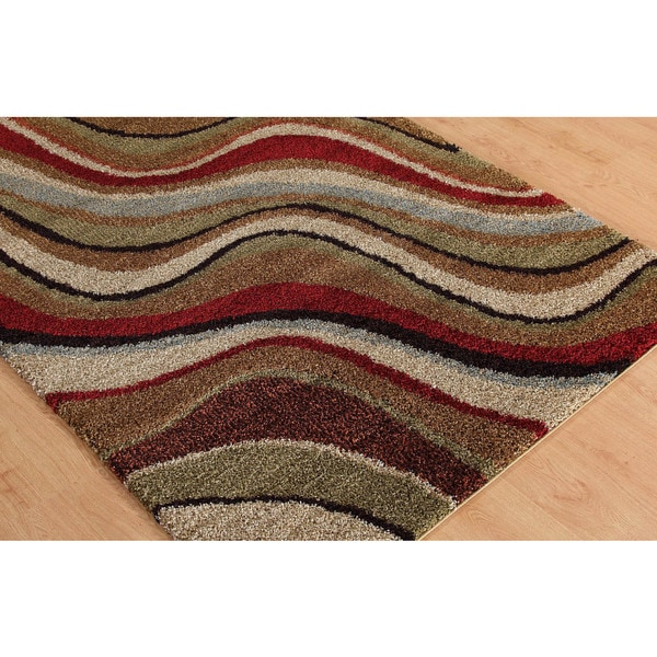 Alise Fabulous Multicolored Abstract Shag Rug (5'3 x 7'3)