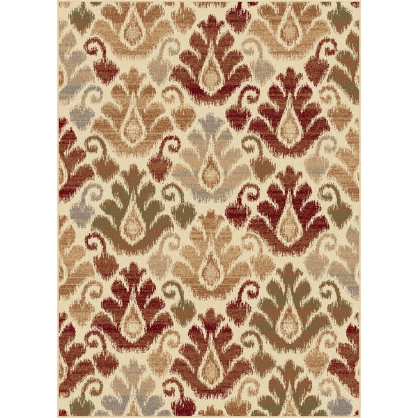Flora Collection Ivory Area Rug (7'10 x 10'3)