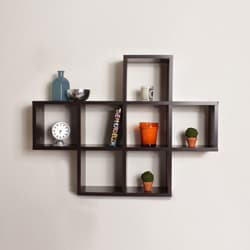 Cubby Walnut Finish Shelving Unit