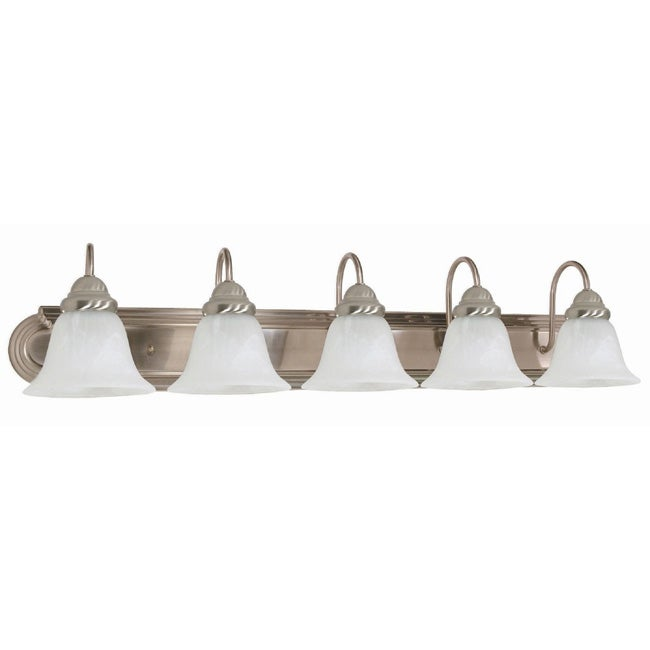 Ballerina - 5 Light Vanity - Brushed Nickel Finish with Alabaster Glass