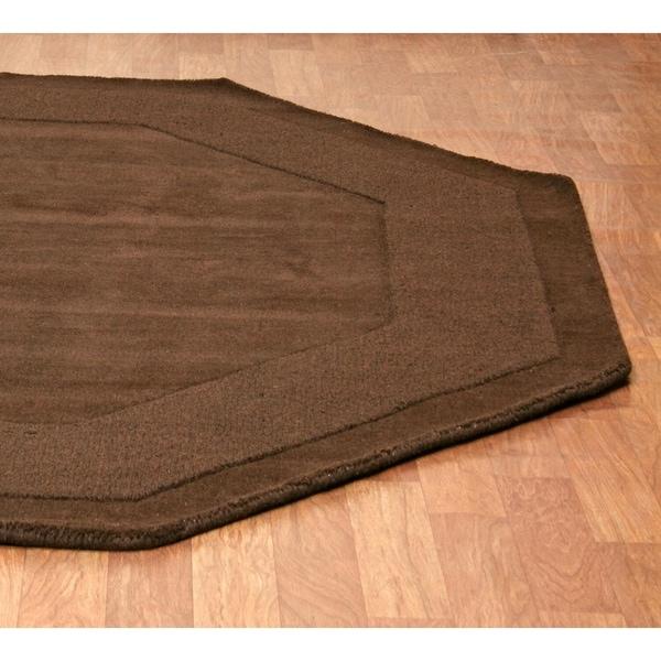 Hand Tufted Chocolate Border Wool Rug 8 X27 Octagon