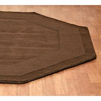 Hand-tufted Chocolate Border Wool Rug (8' Octagon) - 8' x 8'