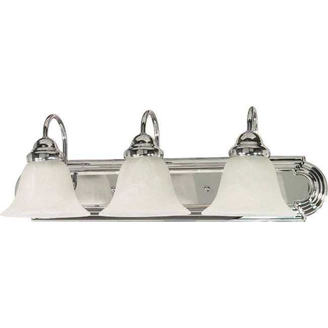 Ballerina - 3 Light Vanity - Polished Chrome Finish with Alabaster Glass