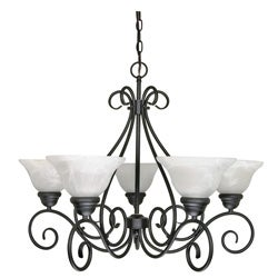 Castillo Five-Light Indoor Chandelier with Textured Black Finish and Alabaster Swirl Glass
